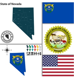 Map of nevada with seal vector