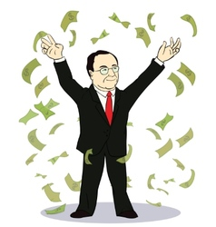 Businessman throwing bank notes vector