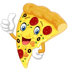 Cartoon pizza giving thumb up vector