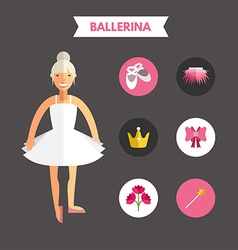 Flat design of ballerina with icon set infographic vector
