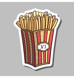 Fried potatoes sticker vector