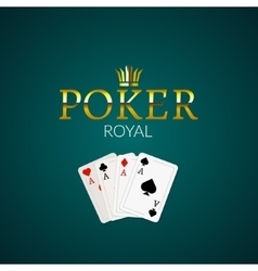Poker casino poster logo template design royal vector