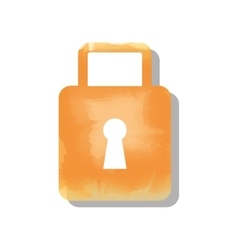 Padlock watercolor isolated icon design vector