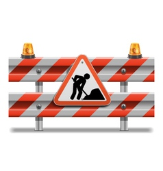 Barrier with Sign and Beacon vector image