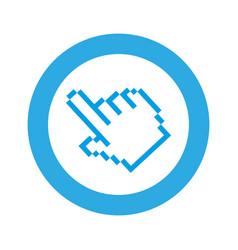 Blue symbol pixel hand cursor icon vector