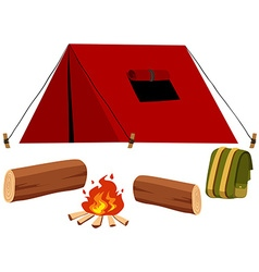 Camping set with tent and fire vector