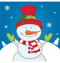 Cartoon character snowman on winter landscape vector image