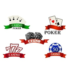 Casino and gambling emblems or symbols vector image
