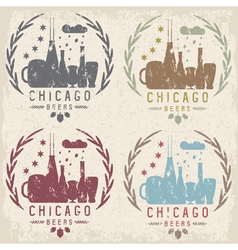 chicago beer festival vintage grunge emblems set vector image