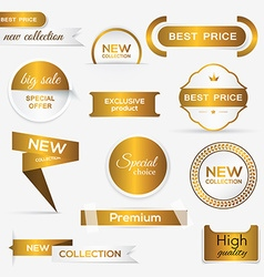 Collection of golden premium promo sealsstickers vector image vector image