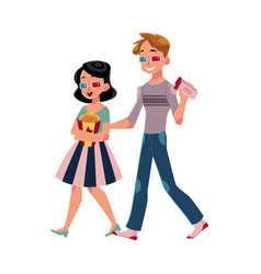 couple going to cinema isolated vector image vector image
