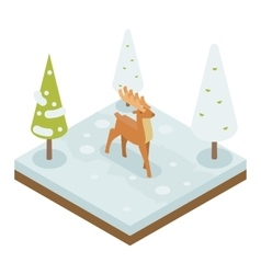 Deer walking along winter wood forest isometric 3d vector