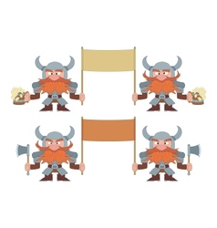 Dwarfs with banners set vector image