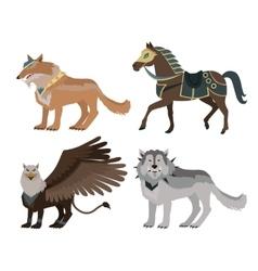 Fantastic wolf in flat design vector