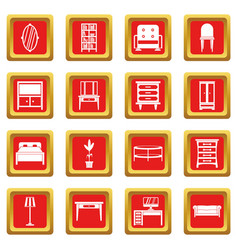 furniture icons set red vector image vector image