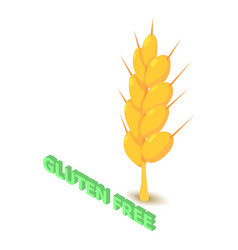 Gluten allergen free icon isometric style vector