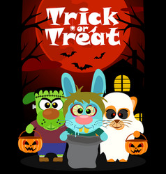 halloween background with animal trick or vector image