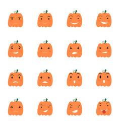 halloween pumpkin icons set vector image