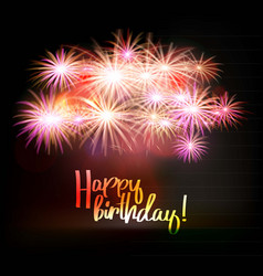 happy birthday fireworks greeting card vector image