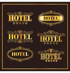 Hotel vintage golden labels vector