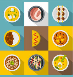 Japanese restaurant icon set flat style vector