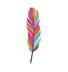Large colored bright feather with patterns vector