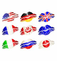lip flags vector image vector image