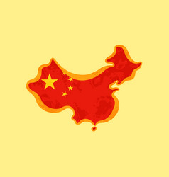 map of china colored with chinese flag vector image vector image