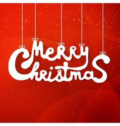 Merry christmas hand lettering applique background vector image vector image