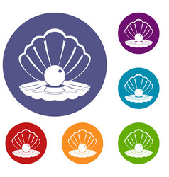 Pearl in a sea shell icons set vector