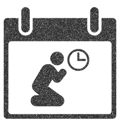 Pray time calendar day grainy texture icon vector