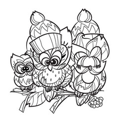 Pretty owl on tree branch vector