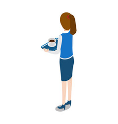 restaurant turned waitress with tray in hands vector image