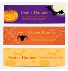 Set of Three Halloween banners vector image