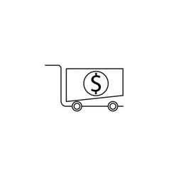 shopping cart money icon vector image