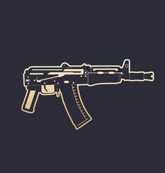 soviet automatic carbine shortened assault rifle vector image