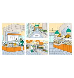 Supermarket interior hand drawn colorful vector