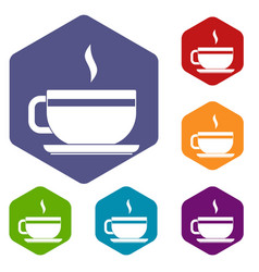 Tea cup and saucer icons set hexagon vector