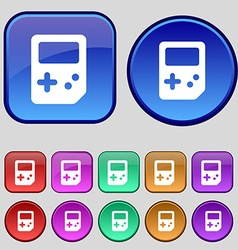 Tetris icon sign A set of twelve vintage buttons vector image vector image