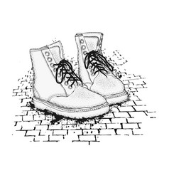 The image of the lace-up shoes on granite paving vector