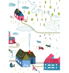 Town or village rural landscape with forest and vector