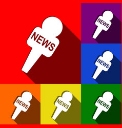 Tv news microphone sign set vector