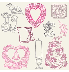vintage wedding elements vector image