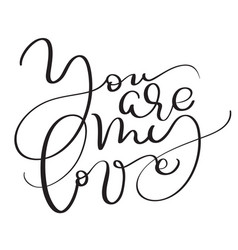 you are my love vintage text on white vector image vector image