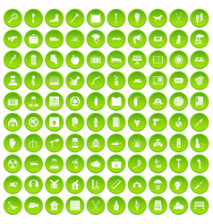 100 help icons set green circle vector
