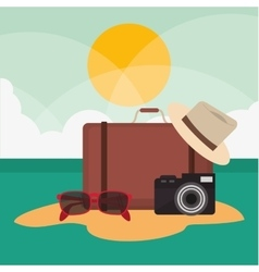 Suitcase hat glasses camera vacation summer travel vector