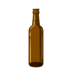 Full brown beer bottle icon cartoon style vector
