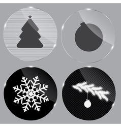 Glass christmas button vector