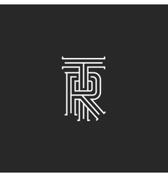 Retro TR logo monogram overlapping thin line vector image