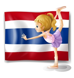 A ballet dancer in front of the thailand flag vector